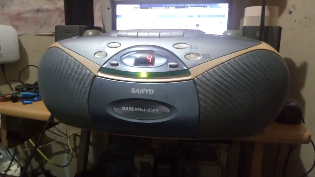 Download A 15-year-old boom box from the early 2000s made by Sanyo.