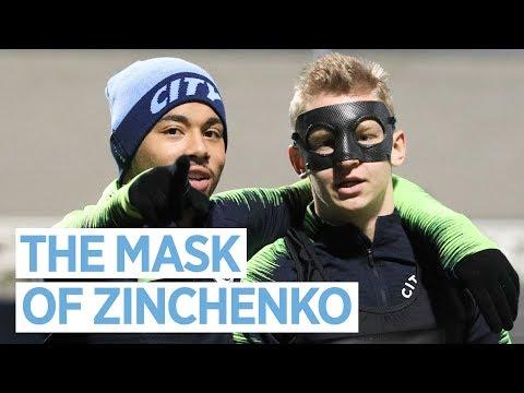 Zinchenko turns into Zorro and Riyad Mahrez takes on Ederson   MAN CITY TRAINING