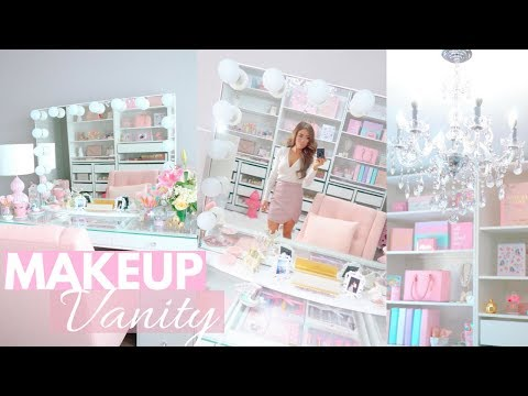 DECORATE MY MAKEUP VANITY WITH ME AND TOUR!👑💕 SLMissGlam👑💕