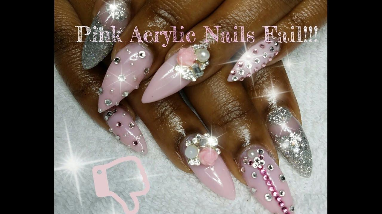 Pink Acrylic Nails EPIC FAIL!!!!! - YouTube