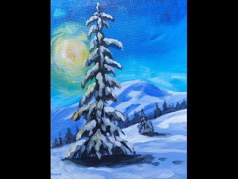 LONE Pine  tree in snow  LIVE Acrylic Painting for Beginners