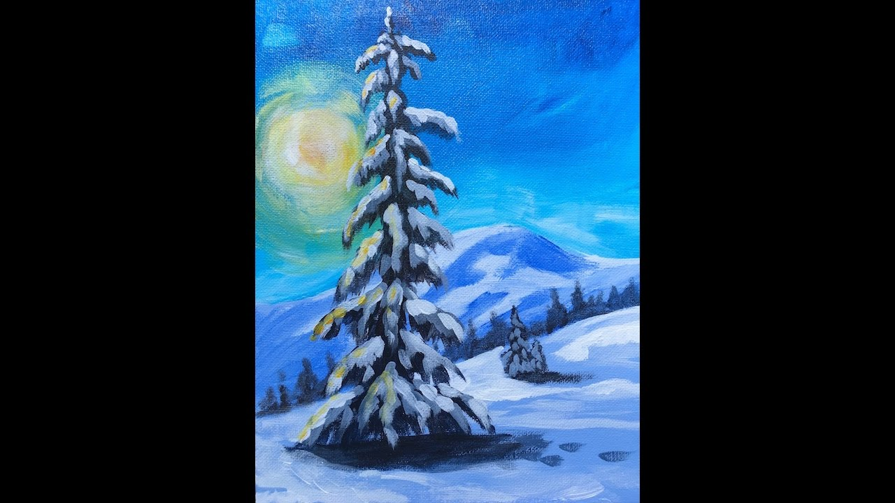 LONE Pine tree in snow LIVE Acrylic Painting for Beginners - YouTube