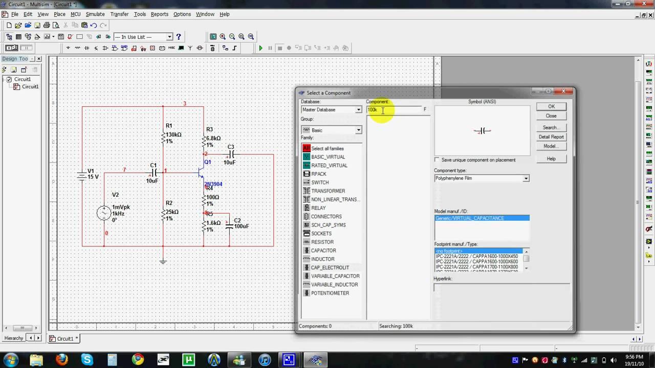 National Instruments Multisim Building transistor circuit (Video ...