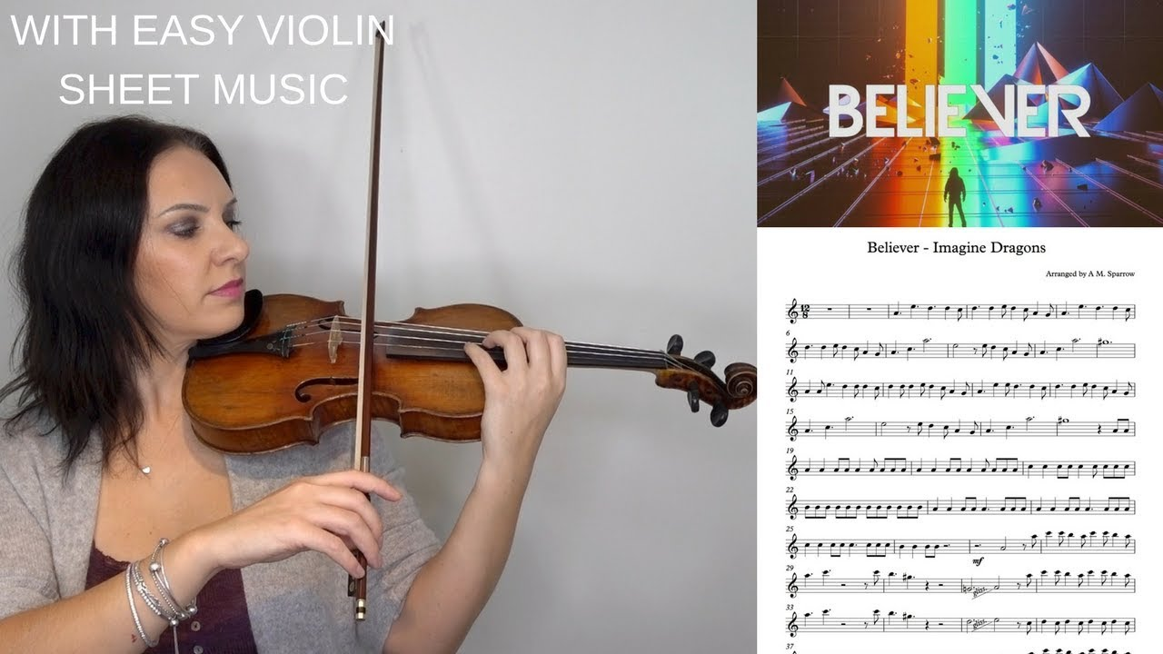 BELIEVER BY IMAGINE DRAGONS | EASY VIOLIN TUTORIAL with SHEET MUSIC