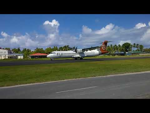 Fiji Airways take-off from Funafuti  in Tuvalu. 11/7 2017