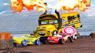"""FIRE-UP"" 🔥 Miss Fritter & Lightning McQueen Racing Days. Crash N Smash Crazy 8 Race Disney Cars 🔥"