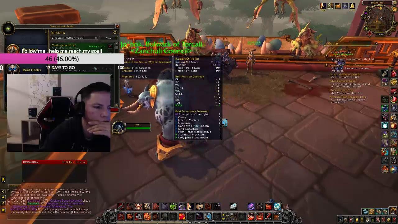 Zandalar Fury Warrior (race changed) Mythics 10+ / Live from