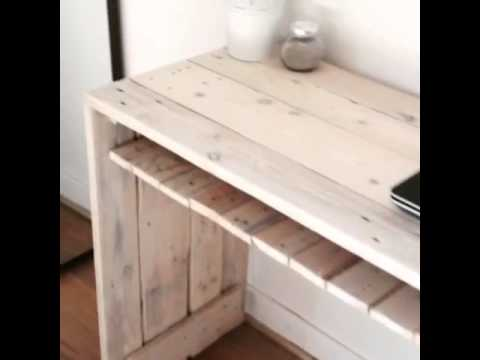 bureau en palettes youtube. Black Bedroom Furniture Sets. Home Design Ideas