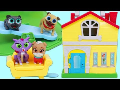Disney Jr Puppy Dog Pals Stow N Go Playset & Surprise Toys Opening!