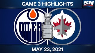 NHL Game Highlights   Oilers vs. Jets, Game 3 - May 23, 2021