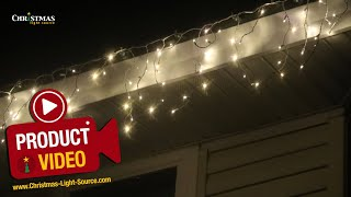 Warm White Twinkle Icicle Lights on White Wire