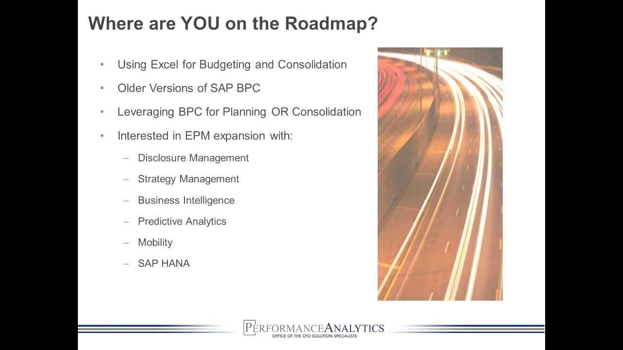 The SAP Enterprise Performance Managment (EPM) Roadmap with Performance  Analytics