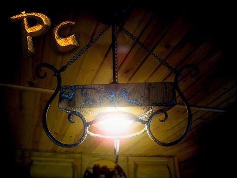 PCshow The best in DIY. Forged lamp+oak. Кованый светильник+дуб.
