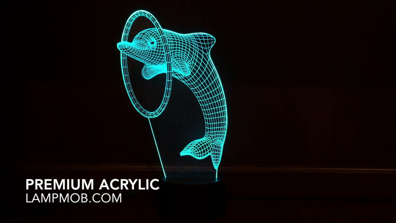 3D Dolphin Lamp U0026 Night Light, Crazy LED Optical Illusion