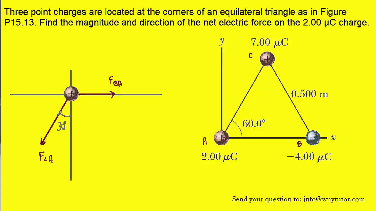 Three Point Charges Are Located At The Corners Of An Equilateral Free Body Diagram Form A And Solve Triangle As In Figure P1513 Find Youtube