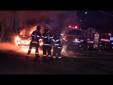 West Paterson (Woodland Park) NJ Fire Dept Fully involved Van Fire 1820 Route 46 West at Pizza Hut