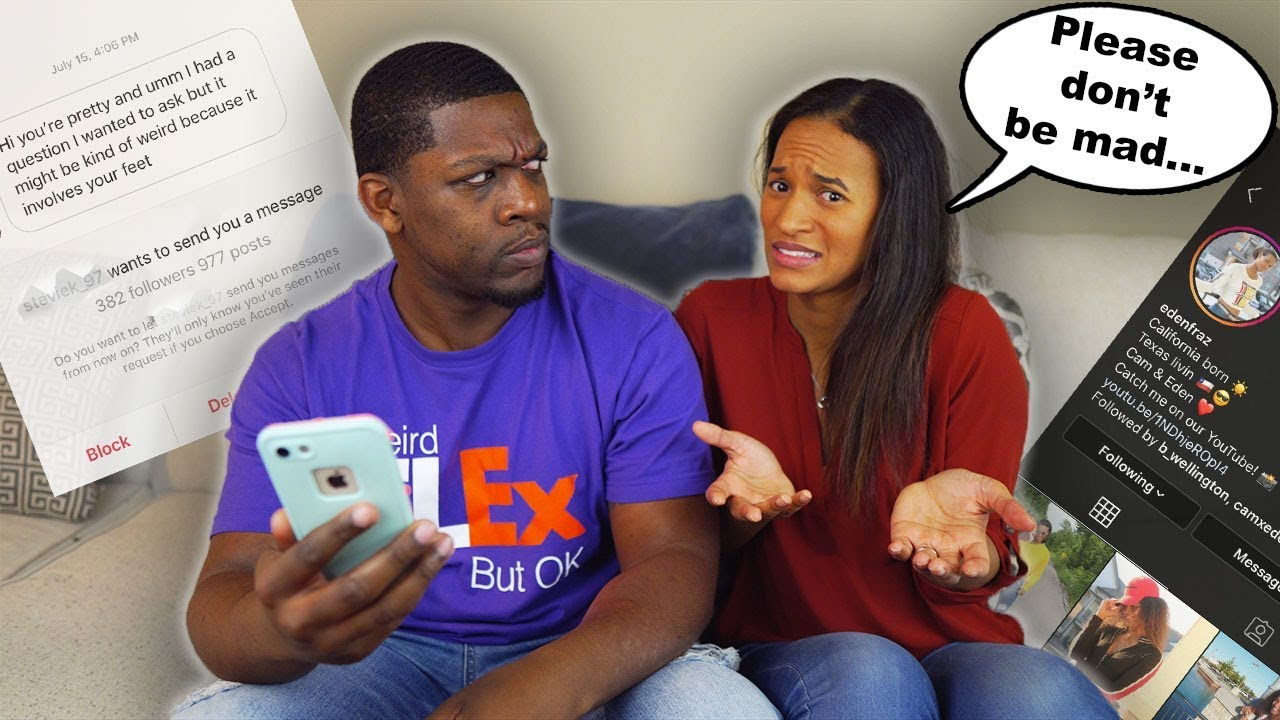 READING MY WIFES INSTAGRAM DMs!!! (GETS EMOTIONAL) - YouTube