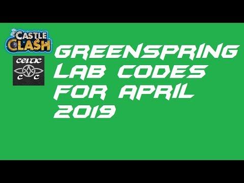 Greenspring Lab Codes April 2019  Castle Clash