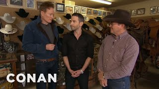CONAN Highlight: Conan's metrosexual Associate Producer gets a Texas-style wardrobe reboot at Chick Elms' Western Store. [See it in CONAN360° ...