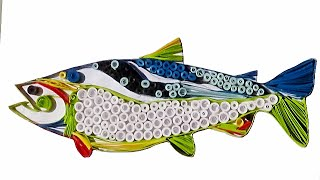 quilling artwork | Made Easy # How to make Beautiful Fish Design using Paper Quilling Art