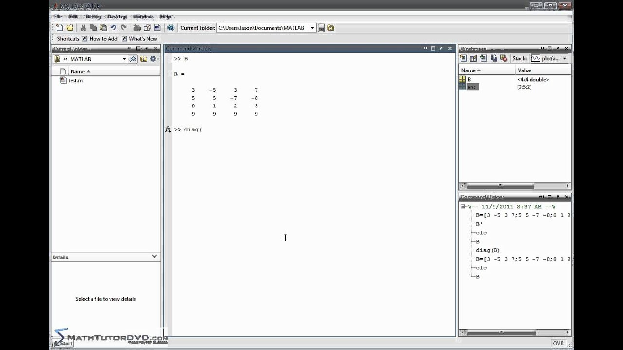 how to make matrix in matlab