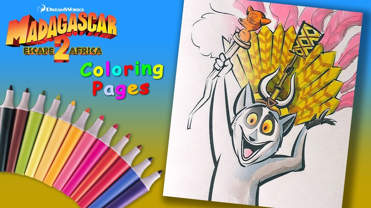 Madagascar Coloring Pages For Kids. How to Coloring King Julien ...