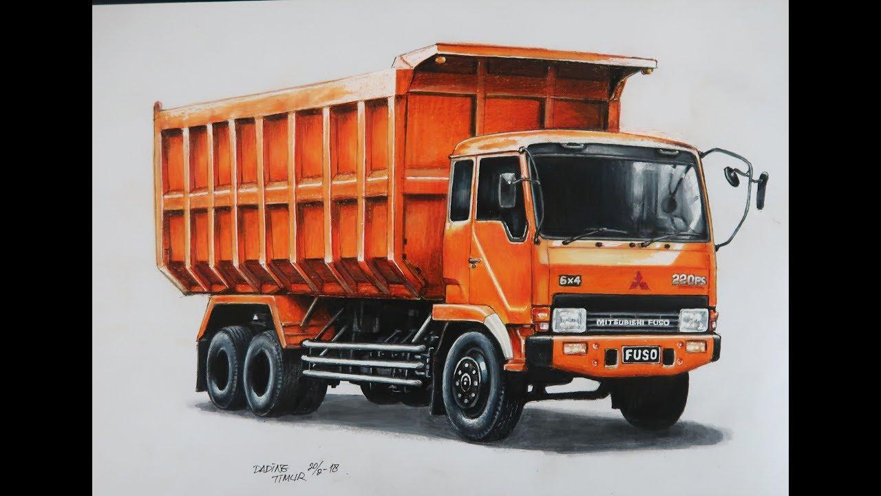 Menggambar Truck Fuso 220ps Dengan Pensil Warna Dadingtimur Youtube