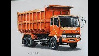 Menggambar Truck Fuso 220PS dengan Pensil Warna