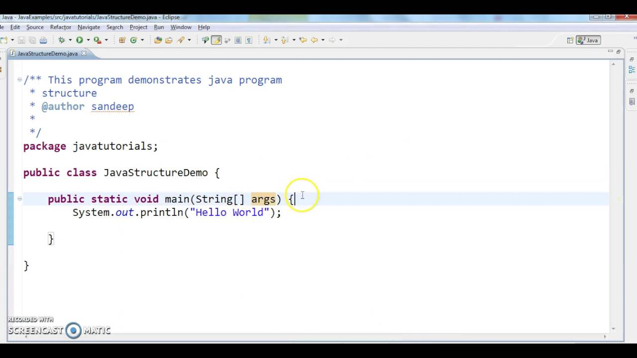 Java tutorial 1 explain structure of java program youtube java tutorial 1 explain structure of java program baditri Gallery