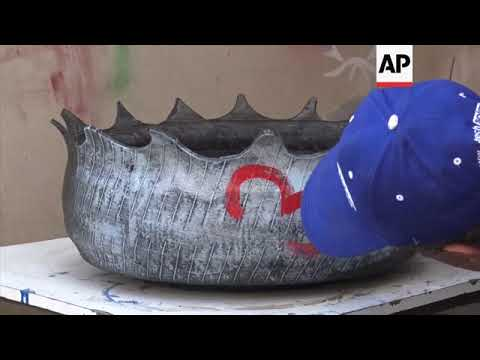 Tyres transformed into objets d'art in Sanaa