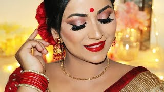 Durga Puja Makeup and Hairstyle 2018 / Traditional Bengali Look
