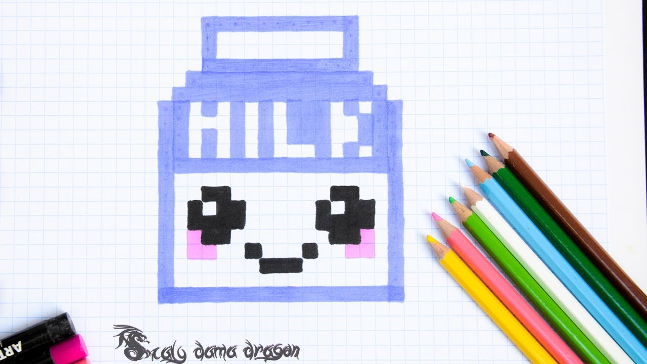 Pintando Caja De Leche Cuadricula Milk Kawaii Pixel Art