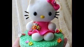 DIY How to do fondant Hello Kitty - Fondant Kitty tutorial