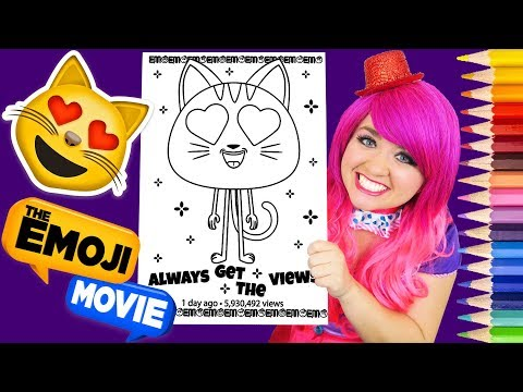 Coloring Emoji Movie Cat Heart Eyes Coloring Book Page Prismacolor Colored Pencil | KiMMi THE CLOWN