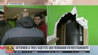 Detienen a tres sujetos que robaban en un restaurant en Estación Central