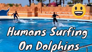 Humans Surfing on Dolphins | Sealanya DolphinPark | Turkey
