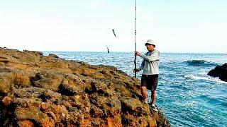 Pesca de pejerrey con carnada y anzuelo Rock fishing