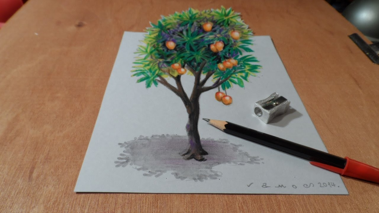 drawing tree how to draw 3d mango tree trick art on paper by vamos youtube [ 1280 x 720 Pixel ]