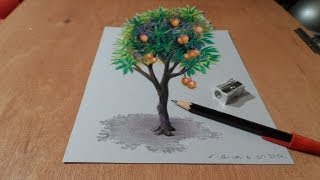 How I Draw a 3D Mango Tree, Trick Art, Time Lapse