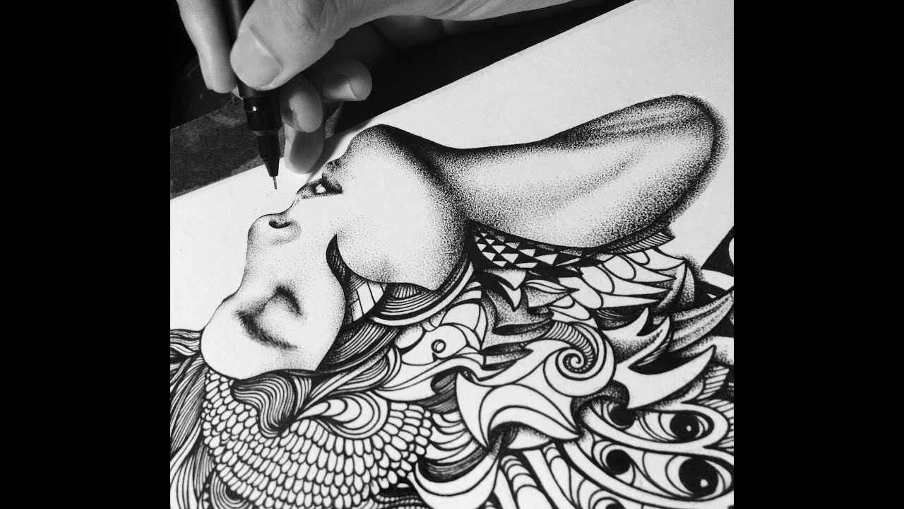 Time Lapse Drawing   Dot-drawing Technique