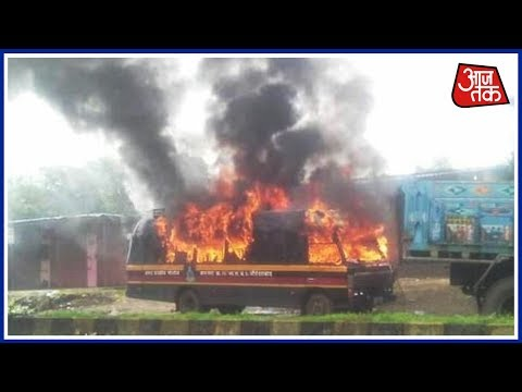 Farmers Burn Down Police Van To Protest Against Airport Plan In Maharashtra