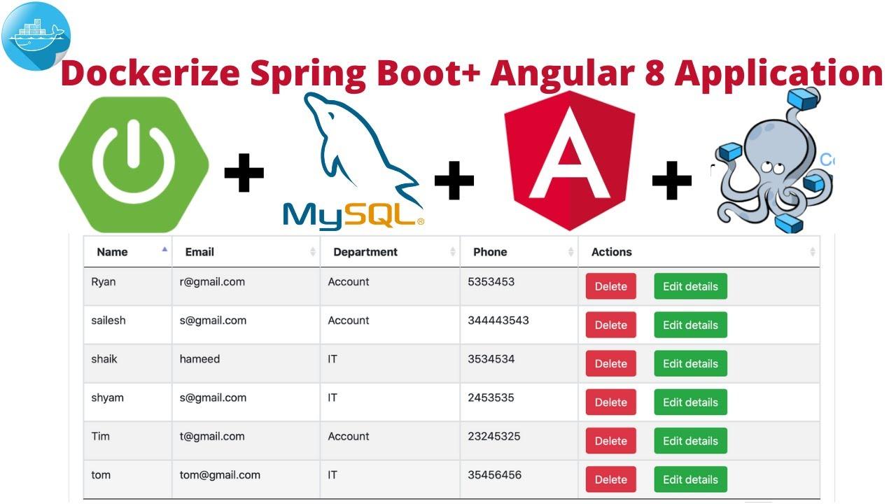 Dockerize Spring Boot + Angular 8 CRUD API application | Docker Compose