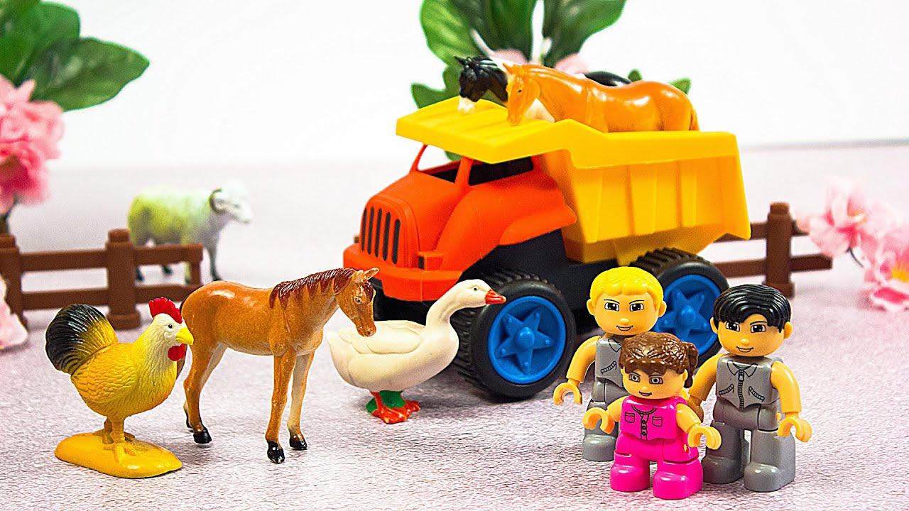 ДОМАШНИЕ ЖИВОТНЫЕ для детей. Стихи про животных. Мультик про машинки на русском #мультфильм