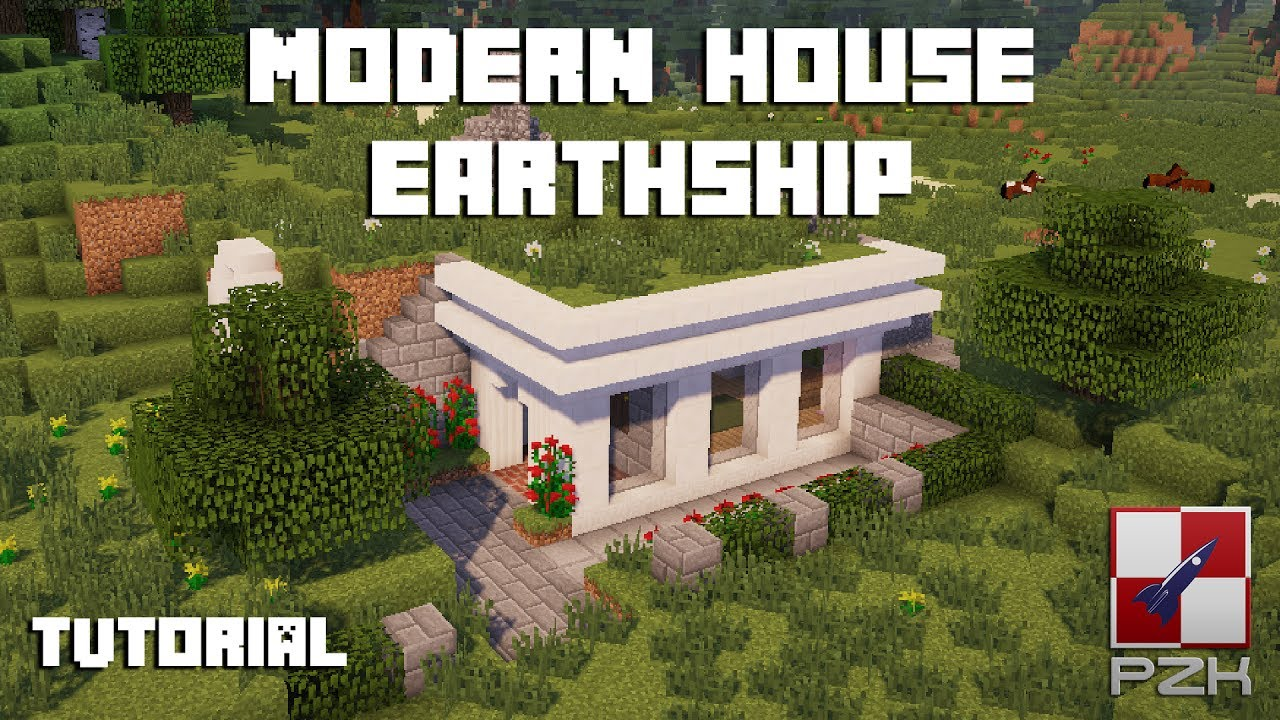 minecraft - how to build a modern house #2 earthship/hobbit style