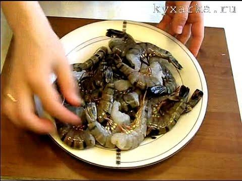 Жареные креветки с салатом из рукколы