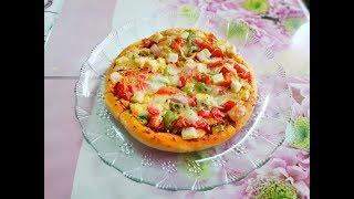 घर में बनाये डोमिनोज़ स्टाइल वेज  पिज़्ज़ा|| dominos ki tarah ghar me banaye pizza| veg pizza at home