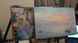 Рисуем море  Масло Видеоурок  Полная версия