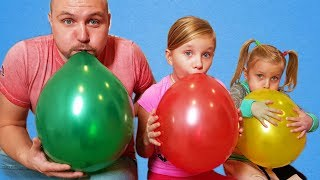 Learn colors with Balloons ! Kids and daddy have fun playtim...