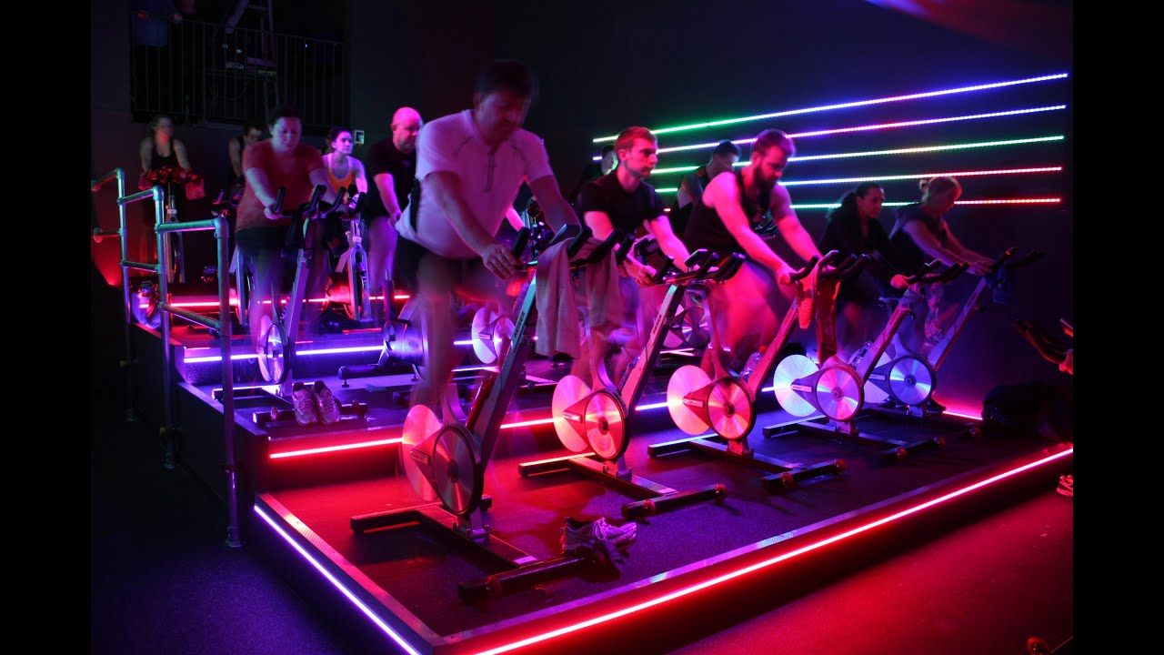8372086c20 Les Mills RPM at Blunsdon Fitness+ spinning/cycling studio in Swindon with  full LED lighting
