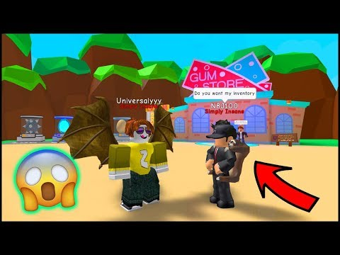 HE GAVE ME HIS INVENTORY! OMG BUBBLE GUM SIMULATOR - ROBLOX
